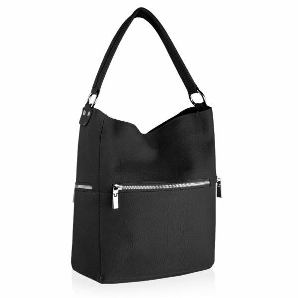 Czarna torebka skórzana DOLLY z paskiem na ramięTWB-DOL-16