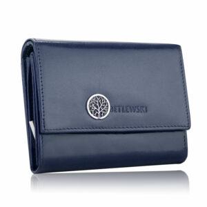 Niebieski skórzany portfel damski Betlewski BPD-SS-11