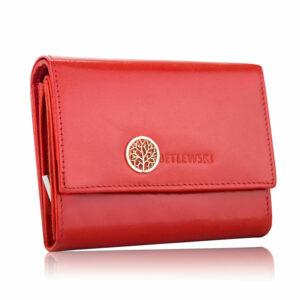 Czerwony skórzany portfel damski Betlewski BPD-SS-11