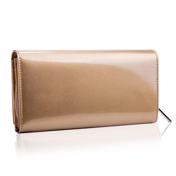 Złoty portfel damski z lakierowanej skóry SHINY Betelwski
