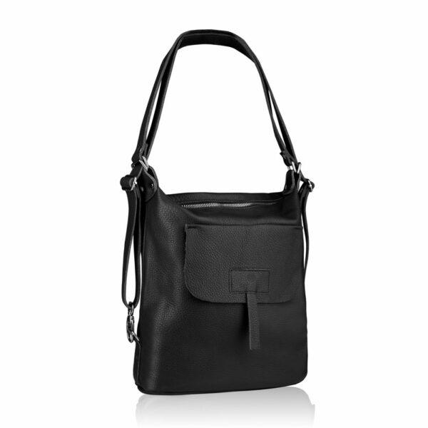 Plecaczek damski skórzany ze ściągniętymi szelkami - Skórzany plecak damski Betlewski® - torebka plecak 2w1
