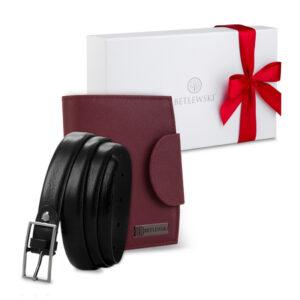 Zestaw prezentowy dla niej - Zapakowany w pudełko z kokardką bordowy portfel damski i pasek skórzany Betlewski