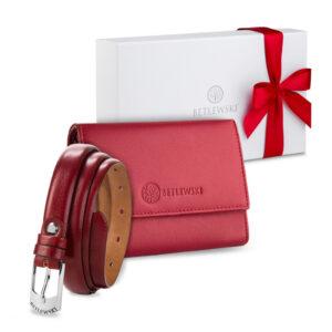 Zestaw prezentowy dla niej - Czerwony portfel i cienki skórzany pasek - zapakowane w ozdobne pudełko prezent