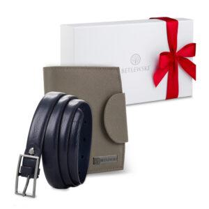 Zestaw prezentowy dla niej - Skórzany portfel damski & Cienki skórzany pasek- zapakowany w pudełko prezentowe, pomysł na prezent dla kobiety, żony, dziewczyny