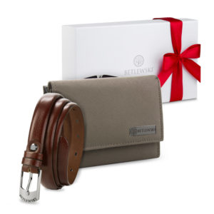 Zestaw prezentowy dla niej - Skórzany portfel damski & Cienki skórzany pasek- zapakowany w pudełko prezentowe, pomysł na prezent dla dziewczyny, żony, mamy, babci