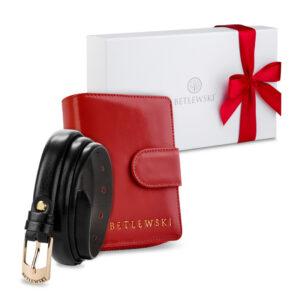 Zestaw prezentowy dla niej - Elegancki portfel damski & cienki skórzany pasek- zestaw prezentowy zapakowany w pudełko prezentowe, pomysł na prezent dla dziewczyny, żony, siostry, mamy, babci