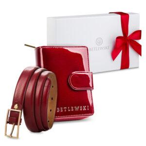 Zestaw prezentowy dla niej - Elegancki portfel damski & cienki skórzany pasek - czerwony zestaw prezentowy na dzień kobiet, pomysł na prezent dla mamy, żony, dziewczyny, babci