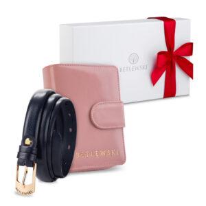 Zestaw prezentowy dla niej - Elegancki portfel damski & cienki skórzany pasek- zapakowany w pudełko prezentowe z kokardką pomysł na prezent dla kobiety