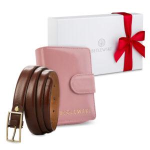 Zestaw prezentowy dla niej - Elegancki portfel damski & cienki skórzany pasek - zestaw prezentowy na dzień kobiet, pomysł na prezent dla mamy, siostry, żony, dziewczyny, babci