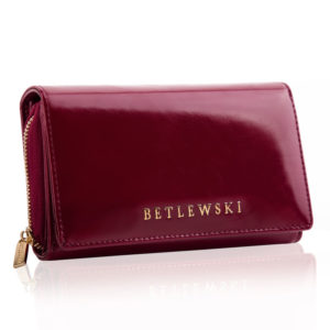 Bordowy skórzany portfel damski z olejowanej skóry naturalnej Betlewski