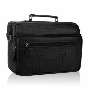 Skórzana torba męska do ręki z paskiem na ramię TBS-322 DDDM czarna