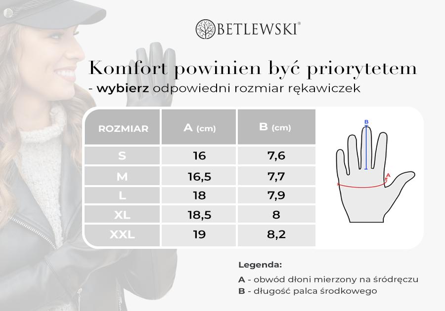Tabela rozmiarów rękawiczek damskich