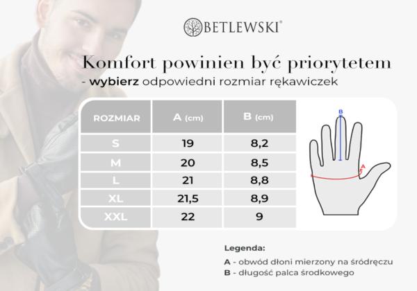 Tabela rozmiarów rękawiczek męskich