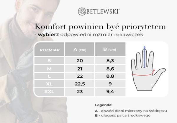 Tabela rozmiarów rękawiczek męskich iTouch