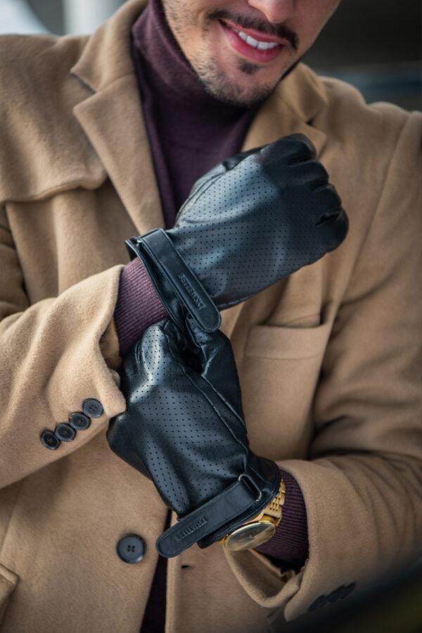 Rękawiczki męskie skórzane iTouch GLM-BG-4